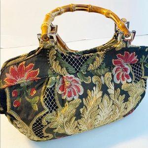 Talbots Tapestry Handbag Purse bamboo handles
